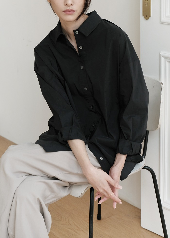 블루브릭,[cowood] York detail shirts (black)