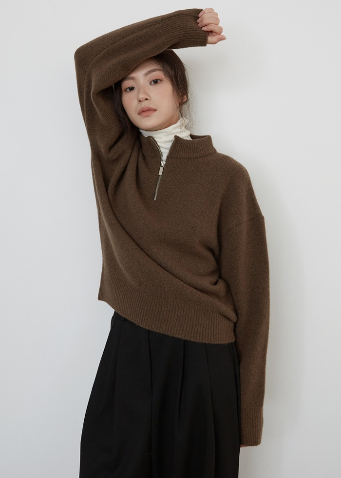 블루브릭,[cowood] Yak zip-up knit (brown)