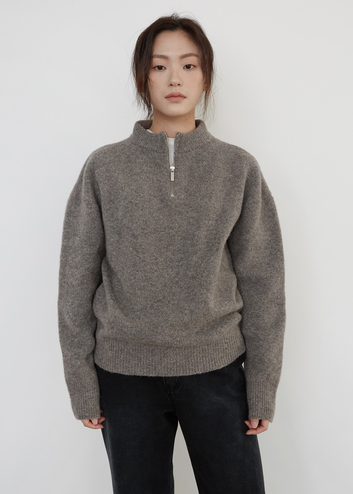 블루브릭,[cowood] Yak zip-up knit (gray)