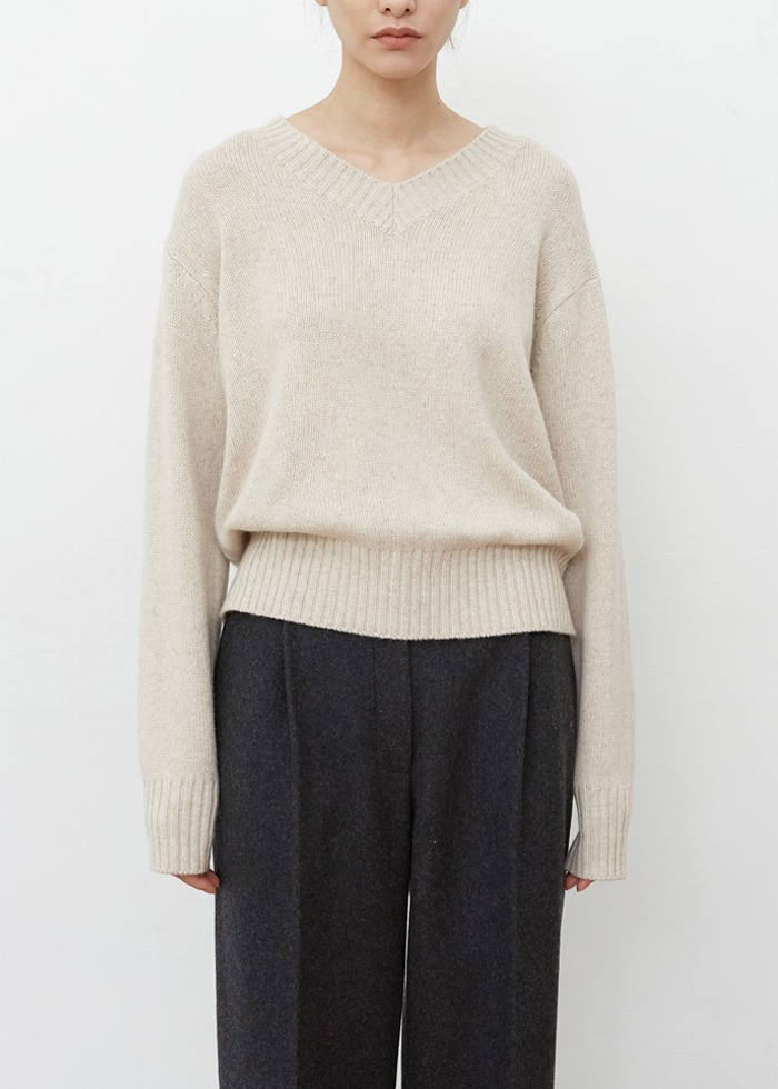 블루브릭,[cowood] Mix yarn knit (oatmeal)
