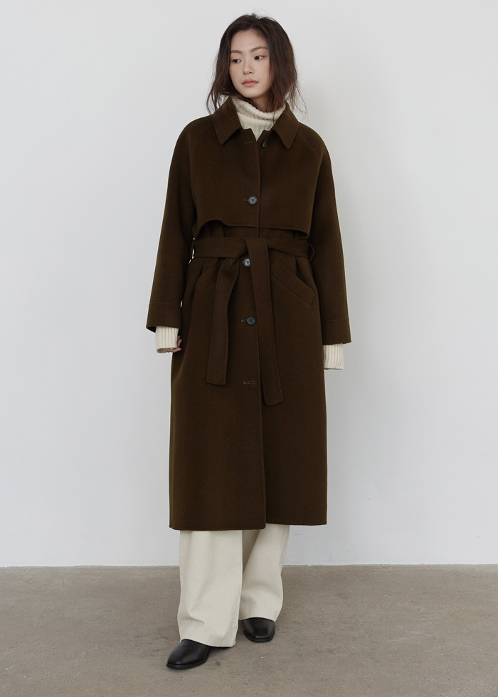 블루브릭,[cowood] Single handmade coat (khaki brown)