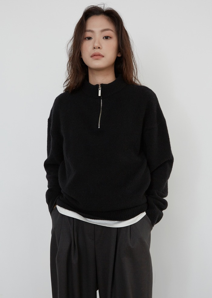블루브릭,[cowood] Yak zip-up knit (black)
