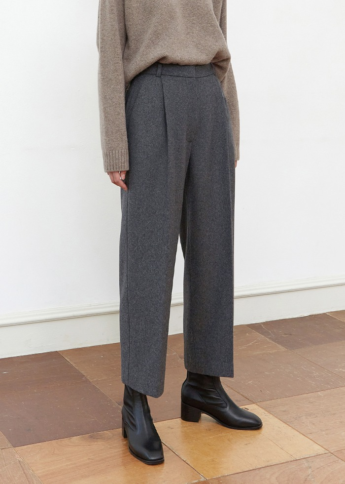 블루브릭,[cowood] Crop wool round slacks (gray)
